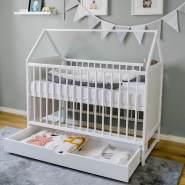 Babybett Beistellbett Kinderbett und Hausbett in einem - 120x60 wei§ mit Schublade, hšhenverstellbar und umbaubar