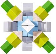 HABA 305461 - 3D-Legespiel Würfelmosaik Nordic, Holzbausteine in unterschiedlichen Formen und Farben zum Legen und Stapeln, mit Vorlagekarten zum Nachbauen, Spielzeug ab 3 Jahren