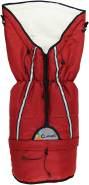 Clamaro 'YETI' Universal Thermo Winter Fußsack mit wärmendem Polarfleece Futter, Oberstoff windabweisend, wetterfest und atmungsaktiv, für Kinderwägen, Babyschalen oder Schlitten, Leinen Rot, universell einsetzbar