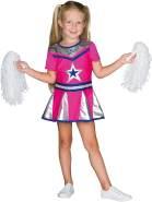 Rubie's Kleid Cheerleader Kinder pink/Silber Größe: 140