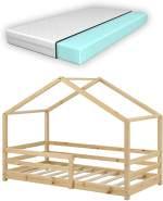 en.casa Kinderbett natur, mit Matratze und Rausfallschutz 80x160cm