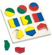 Bino & Mertens 84029 - Geometrisches Formenspiel, mehrfarbig, mit Unterlage und Formen aus Holz. Buntes Holz-Puzzle aus 18 geometrischen Formen. Pädagogisch lehrreiches Spielzeug. Größe 17x2,5x17 cm.
