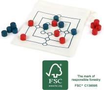 Small Foot 12020 Mühle Reisespiel aus Holz, FSC 100%-Zertifiziert, Beutel bietet Transport und Spielfeld Spielzeug, Mehrfarbig
