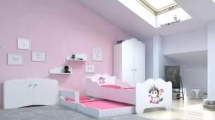 Angelbeds 'Anna' Kinderbett 80x160 cm, Motiv E4, mit Flex-Lattenrost, Schaummatratze und Schubbett