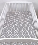 BABYLUX Spannbetttuch 70 x 140 cm Baby SPANNBETTLAKEN Baumwolle Kinderbett 95. Herzen Grau