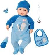 Zapf Creation 701898 Baby Annabell Puppe Alexander mit lebensechten Funktionen und Zubehör 43 cm, blau