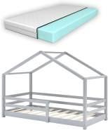 en.casa Kinderbett grau, mit Matratze und Rausfallschutz 80x160cm