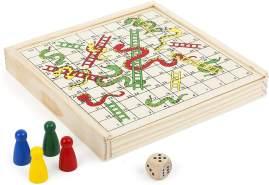 Small Foot 11211 Schlangen-und Leiterspiel to go, FSC 100%-Zertifiziert,Familien Brettspiel in praktischer Holzbox, Unterhaltungsspiel für unterwegs, Für Kinder ab 3 Jahren Spielzeug, Mehrfarbig