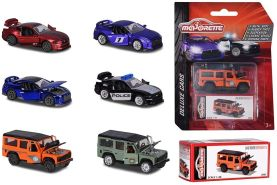Majorette Deluxe Assortment, Die-Cast Fahrzeug, inkl. Sammelbox, Gummireifen, Freilauf, Miniaturfahrzeuge, Spielzeugauto aus Metall, 6 versch. Modelle, Lieferung: 1 Stück, zufällige Auswahl, 7,5 cm