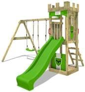 FATMOOSE Spielturm Klettergerüst TreasureTower mit Schaukel & apfelgrüner Rutsche, Kletterturm mit Sandkasten, Leiter & Spiel-Zubehör