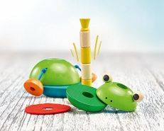Selecta 62041 Stapelfrosch Pepito, Stapelspielzeug aus Holz, 10 cm