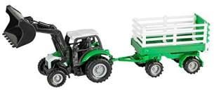 Idena 40291 - Traktor aus Kunststoff mit Rückziehmotor, Anhänger und abnehmbarem Frontlader, ca. 28 x 9,3 x 7 cm