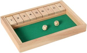 Bartl 107990 Klappenspiel, Shut The Box, Würfelspiel, hochwertige Ausführung aus Buchenholz, Made in Germany