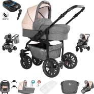 Friedrich Hugo Berlin | 4 in 1 Kombi Kinderwagen + ISOFIX | GEL Reifen | Farbe: Grey and Beige Night