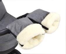 BabyLux Handmuff für Kinderwagen MUFF Reißverschluss MR55 Grau55 + Wolle