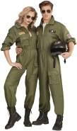 Widmann 65532 – Herrenkostüm, Kampfjet Pilot/in, kakifarbener Overall, Top Gun, Anzug, verschiedene Größen, Motto Party, Karneval