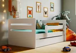 Kinderbett Jugendbett Weiß mit Rausfallschutz Schubalde und Lattenrost Kinderbetten für Mädchen und Junge - Tomi 80 x 140 cm