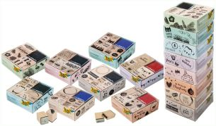 folia 31106 - Holzstempelset Lettering, inklusive 10 Holzstempel und 2 Stempelkissen - ideal zum Verzieren von Karten, Freundschaftsbüchern, für Lettering und Scrapbooking