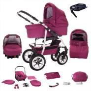 Bebebi Bellami | ISOFIX Basis & Autositz | 4 in 1 Kombi Kinderwagen | Hartgummireifen | Farbe: Bellamore