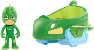 Simba 109402085 - PJ Masks Gecko mit Geckomobil / mit Superhelden Action Figur / Fahrzeug 17cm groß / Figur 8cm groß, für Kinder ab 3 Jahren