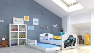 Angelbeds 'Luk' Kinderbett 80x160 cm, Motiv 21, inkl. Flex-Lattenrost, Schaummatratze und Schubbett