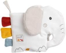 Fehn 056099 Stoffbuch Elefant fehnNATUR – Bilderbuch aus zertifizierter Bio-Baumwolle (kbA) – fördert Sinne & Motorik – der perfekte Begleiter für zuhause & unterwegs – für Babys ab Geburt