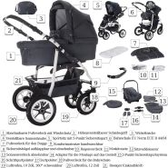 Bebebi Bellami | Hartgummireifen in Weiß | 3 in 1 Kombi Kinderwagen Komplettset | Farbe: Bellagrey