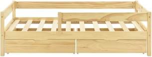 en.casa Kinderbett aus Kiefernholz mit Rausfallschutz und Schubladen 80x160 cm inkl. Lattenrost, natur
