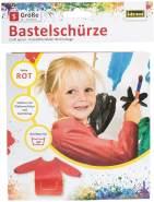 Idena 611184 - Bastelschürze für Kinder von 5 - 6 Jahren mit langen Ärmeln und Klettverschluss, perfekt zum Malen, Basteln, Kochen und Matschen, rot
