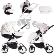Friedrich Hugo Easy Comfort | 3 in 1 Kombi Kinderwagen Komplettset | Farbe: White Black & Leatherette