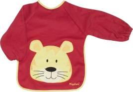 Playshoes 507136 - Ärmel-Lätzchen lang Arm, Katze, rot, Einheitsgröße