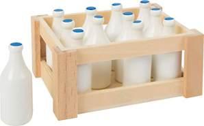 small foot 7062 Milchflaschen aus Holz, in einer nostalgischen Holzkiste zum ausliefern, 12-er Set, ab 3 Jahren