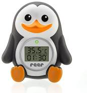 "reer Digitales Bade-Thermometer ""MyHappyPingu"", 2in1 Bade- und Raumthermometer, Timer-Funktion und Temperaturalarm"