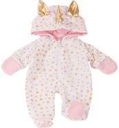 Götz 3402913 Onesie Einhorn - Einteiliger Puppen-Overall Puppenbekleidung Gr. M - Bekleidungs- und Zubehörset für Babypuppen 42 - 46 cm