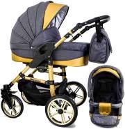 Tabbi ECO X GOLD | 2 in 1 Kombi Kinderwagen | Hartgummireifen | Farbe: Dark Grey