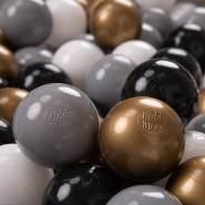 KiddyMoon 50 ∅ 7Cm Kinder Bälle Spielbälle Für Bällebad Baby Plastikbälle Made In EU, Weiß/Grau/Schwarz/Golden