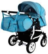 Adbor Duo Spezial Zwillingskinderwagen, Zwillingswagen, Zwillingsbuggy Farbe D-7 hellblau