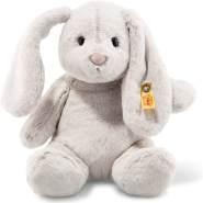 Steiff Hoppie Hase - 28 cm - Plüschhase mit Schlappohren - Soft Cuddly Friends - Kuscheltier für Kinder - waschbar - hellgrau (080470)