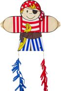HQ 100400 - Skymate Kite Pirate Kinderdrachen Einleiner, ab 5 Jahren, 64x71cm und 2x100cm Drachenschwanz, inkl. 17kp Polyesterschnur 60m auf Spule, 2-5 Beaufort