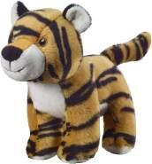 Bauer Spielwaren I Like My Planet - Tiger: Kuscheltier aus softem Plüsch, hergestellt aus recycelten PET-Flaschen, 100 % recycelt, stehend, 15 cm, beige-schwarz (12912)
