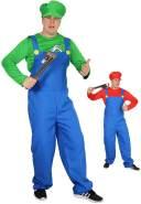 Foxxeo grünes Super Klempner Kostüm für Herren zu Karneval und Fasching Größe XL
