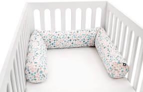 Julius Zöllner 8281069280 Nestchenschlange für Babybett , 180 cm durchmesser 14 cm, Jersey-Baumwolle, Standard 100 by OEKO-Tex, Blümchen, mehrfarbig