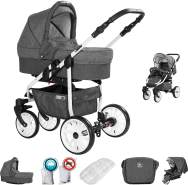 Friedrich Hugo Berlin | 2 in 1 Kombi Kinderwagen | Luftreifen | Farbe: Dark Grey and Grey Day