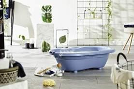Rotho Babydesign TOP Badewanne, Mit Antirutschmatte und Ablaufstöpsel, 0-12 Monate, Cool Blue (Blau), 20001 0287