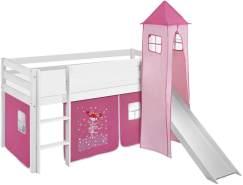 Lilokids 'Jelle' Spielbett 90 x 190 cm, Zauberfee, Kiefer massiv, mit Turm, Rutsche und Vorhang