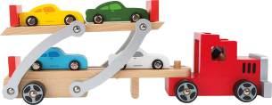 small foot Autotransporter/LKW aus Holz mit beweglicher Laderampe,Kinderspielzeug mit abnehmbarem Anhänger und 4 bunten Autos,ab 3 4222