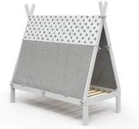 VitaliSpa Tipibett 80x160cm, weiß, inkl. Lattenrost und Überwurf, Buche massiv
