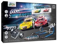 Darda 50244 Rennbahn Set Turbo Fighter, Autorennbahn Autos, Rennstrecke ca. 5,3 m, mit 2 Loopings, 2 Kurven, 28 Teile und 2 DTM Rennwagen, Rennauto Spielset, Kinder ab 5 Jahre