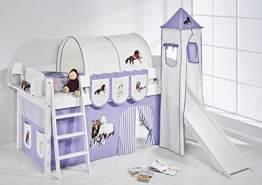 Lilokids 'Ida 4105' Spielbett 90 x 200 cm, Pferde Lila Beige, Kiefer massiv, mit Turm, Rutsche und Vorhang