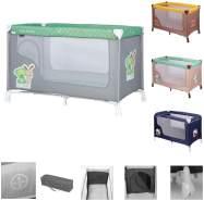 Lorelli Baby Reisebett REMO, Laufstall, Babybett mit Rädern, Tragetasche grau/grün
